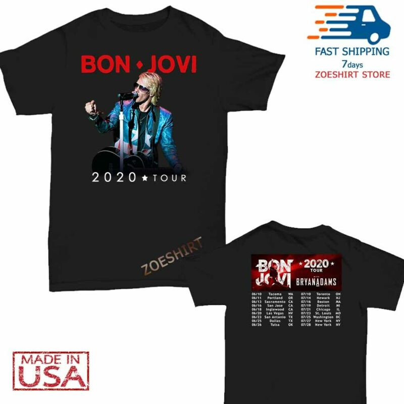 Bon Jovi Bryan Adams Shirt US tour 2020 T-Shirt Size M-2XL Men Black