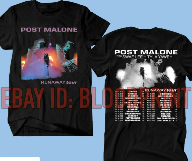 POST MALONE t-shirt Runaway Tour 2020 Second Leg - Hip Hop RnB Rap Music Tee !!!