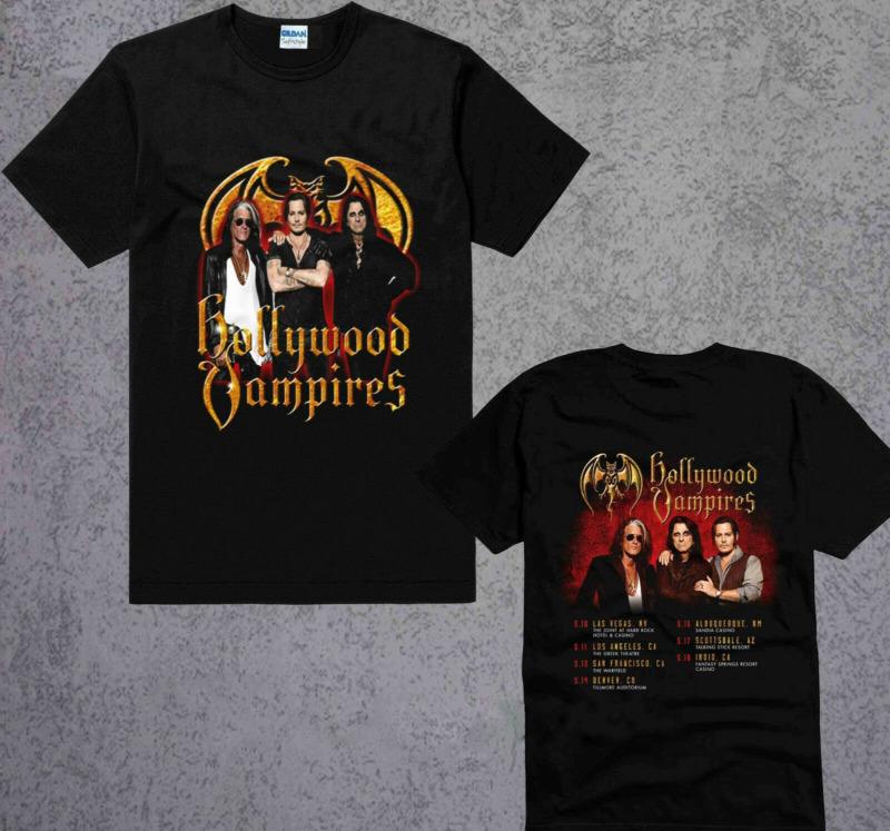 New-Hollywood-Vampires-US-Tour-2020-Black-TShirt-size S-3XL