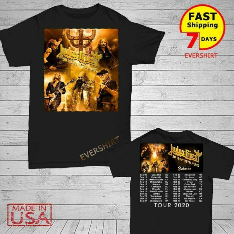 New Judas Priest t Shirt 50 Heavy Metal Years Tour 2020 T-Shirt Size Men Black