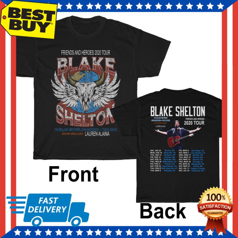 Limited Hot Blake Shelton Friends And Heroes Tour 2020 Logo Black T Shirt M-3XL