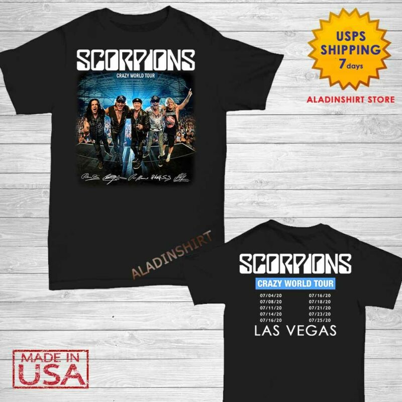 New Scorpions t Shirt Crazy World Tour 2020 T-Shirt Size M-2XL Men Black
