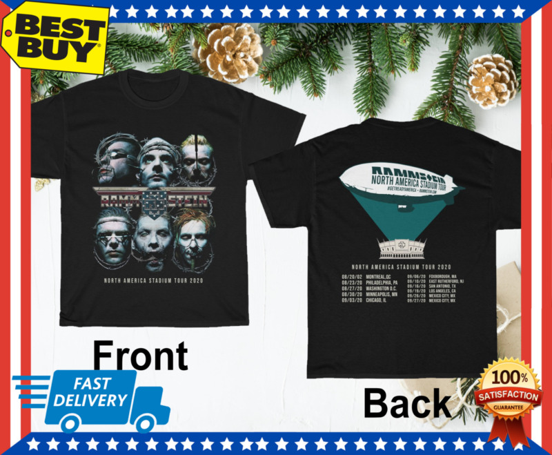 Rammstein T-shirt North America Stadium Tour 2020 Rock Industrial Music tee HOT