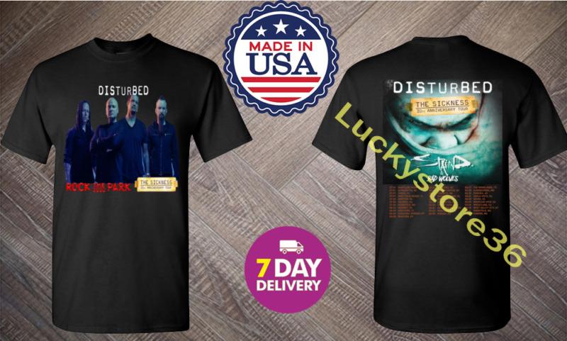 Disturbed Evolution Tour Dates 2020 Black Men T shirt 2 Side.S-3XL.