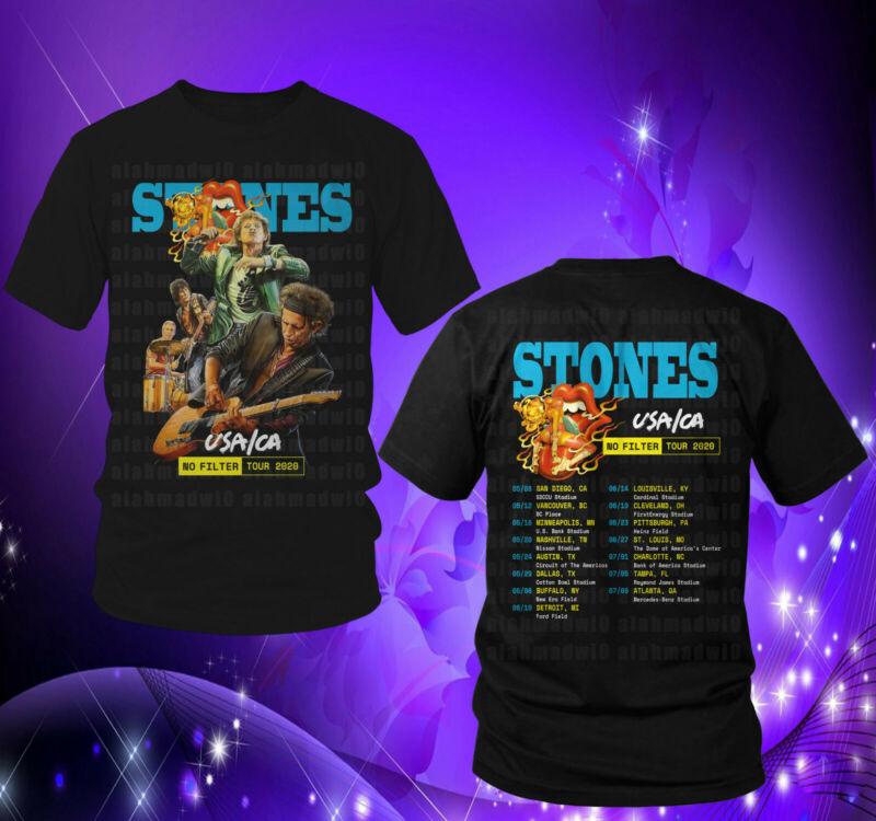 Rolling Stones USA - CA No Filter Tour 2020 Black Mens Womens Tshirt