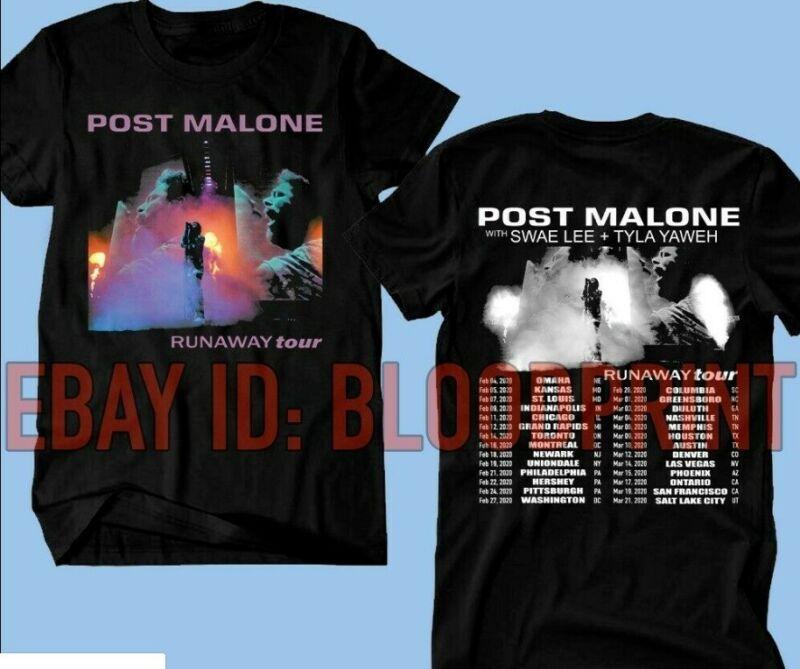 New POST MALONE t-shirt Runaway Tour 2020 Second Leg T-SHIRT Black