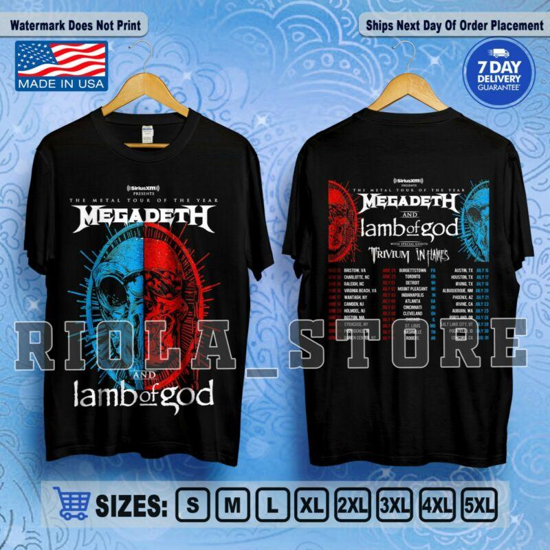 Megadeth + Lamb Of God Tour 2020 Trivium & In Flames T-Shirt Rock Size S-5XL