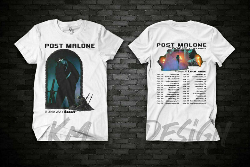 New POST MALONE Runaway Tour 2020 Second Leg - Hip Hop RnB T-SHIRT WHITE