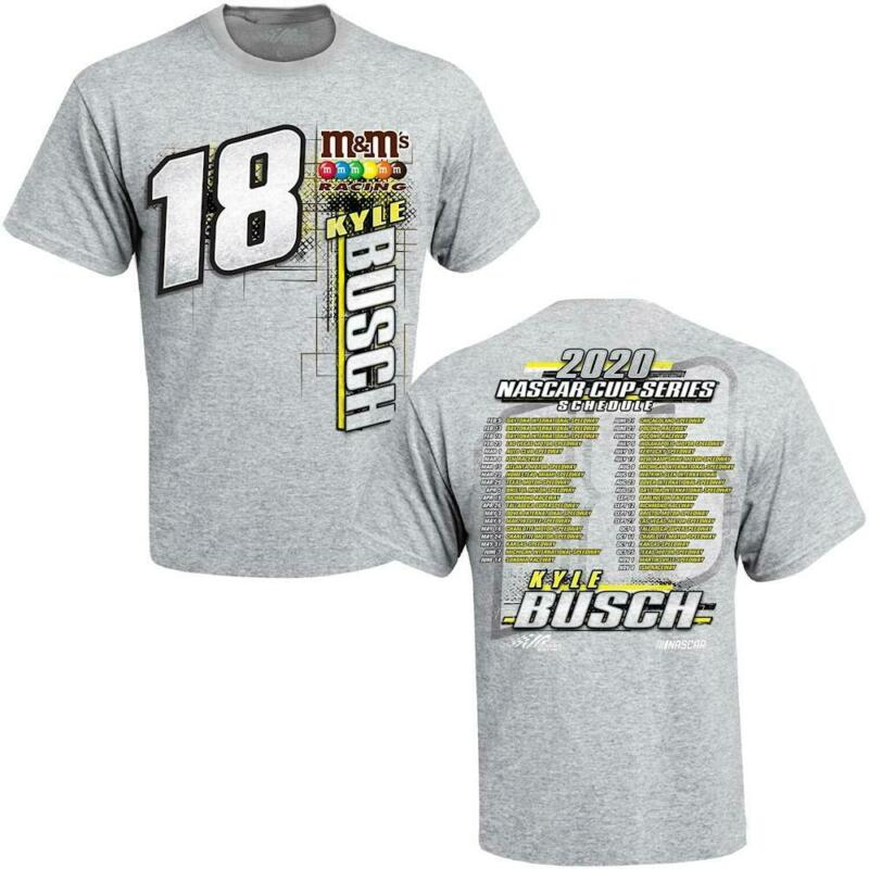Kyle Busch 2020 NASCAR Cup Series Schedule T-Shirt Gray 2 Side S-5XL