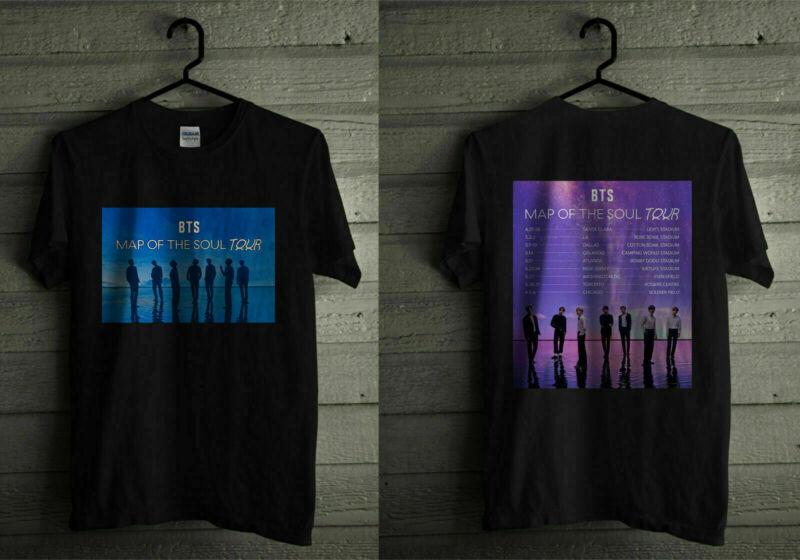 BTS Map Of The Soul Tour 2020 T Shirt KPOP Boygroup Bangtan Boys Full size