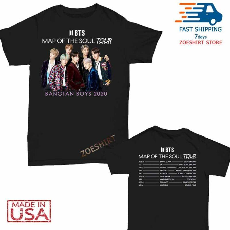 BTS t Shirt Map of the Soul world tour 2020 T-Shirt Size M-2XL Men Black