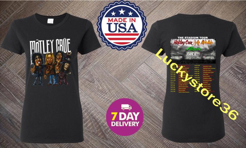 Motley Crue The Stadium Tour 2020 T-Shirt Size Women Black.S-2XL.