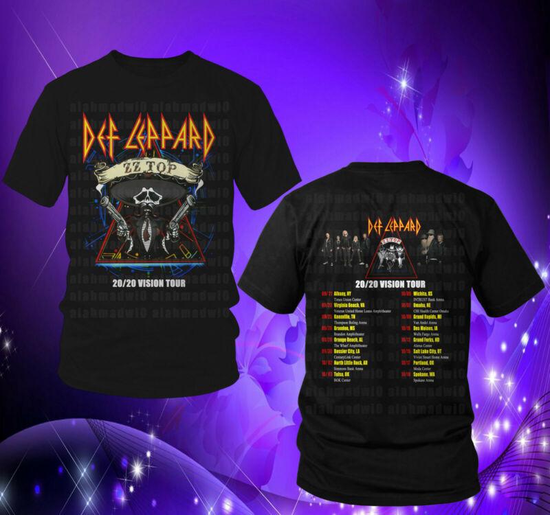 Def Leppard & Zz Top Vision Tour 2020 Black Mens Womens Tshirt