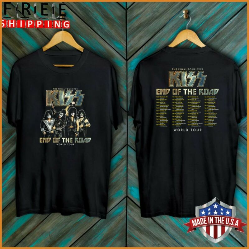 NEW T-Shirt Kiss End Of The Road Tour 2020 Final Tour Black Cotton tee Full Size