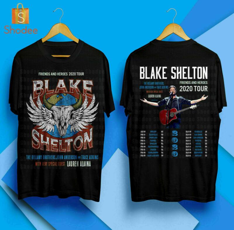 Blake Shelton Friends And Heroes Tour 2020 Merch Concert T-Shirt