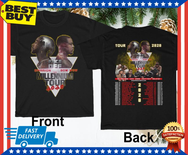 Omarion & Bow Wow Face Off Millennium Tour 2020 with Tour dates T-shirt M-3XL