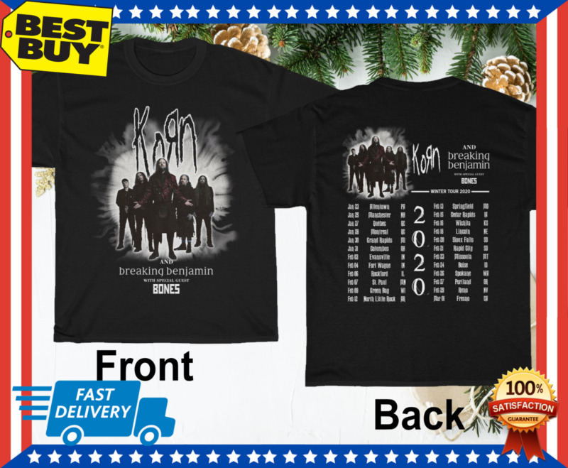 Korn and Breaking Benjamin T-Shirt Winter Tour 2020 Black Unisex M-3XL