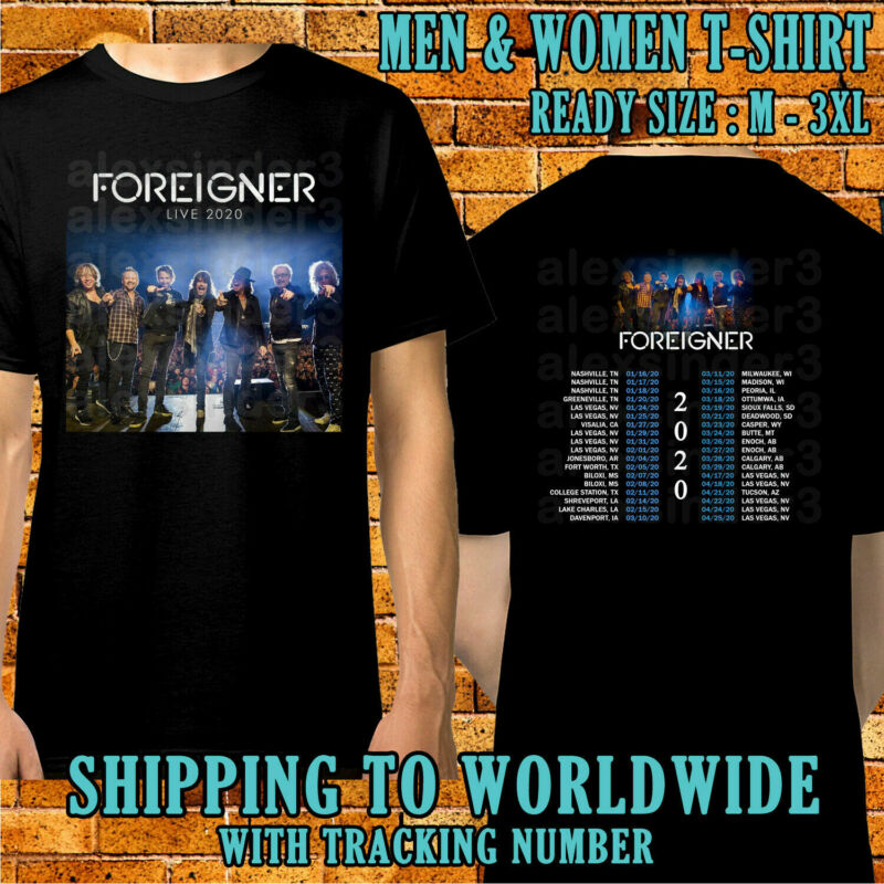 Foreigner Tour Dates 2020 Black T-Shirt S-5XL