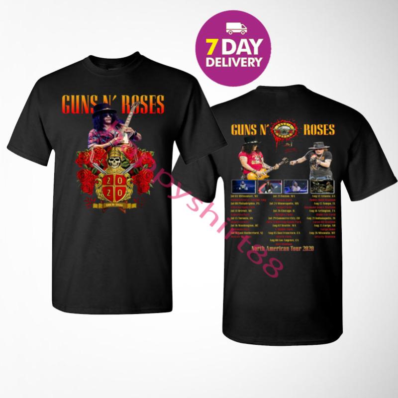 Guns N Roses T Shirt North American tour 2020 Black T-Shirt Size S-3XL.