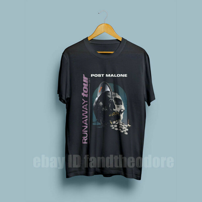 New Post Malone RUNAWAY Tour 2020 Second Leg Mens T-shirt full size black