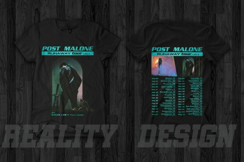 New Post Malone Runaway Leg 2 Tour 2020 T-shirt full size black