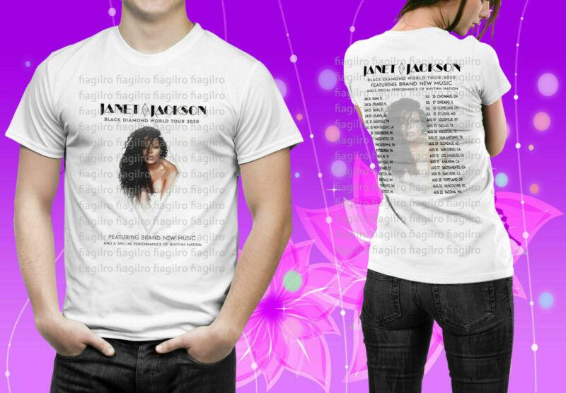 Janet Jackson Black Diamond World Tour 2020 White Mens Womens Tshirt
