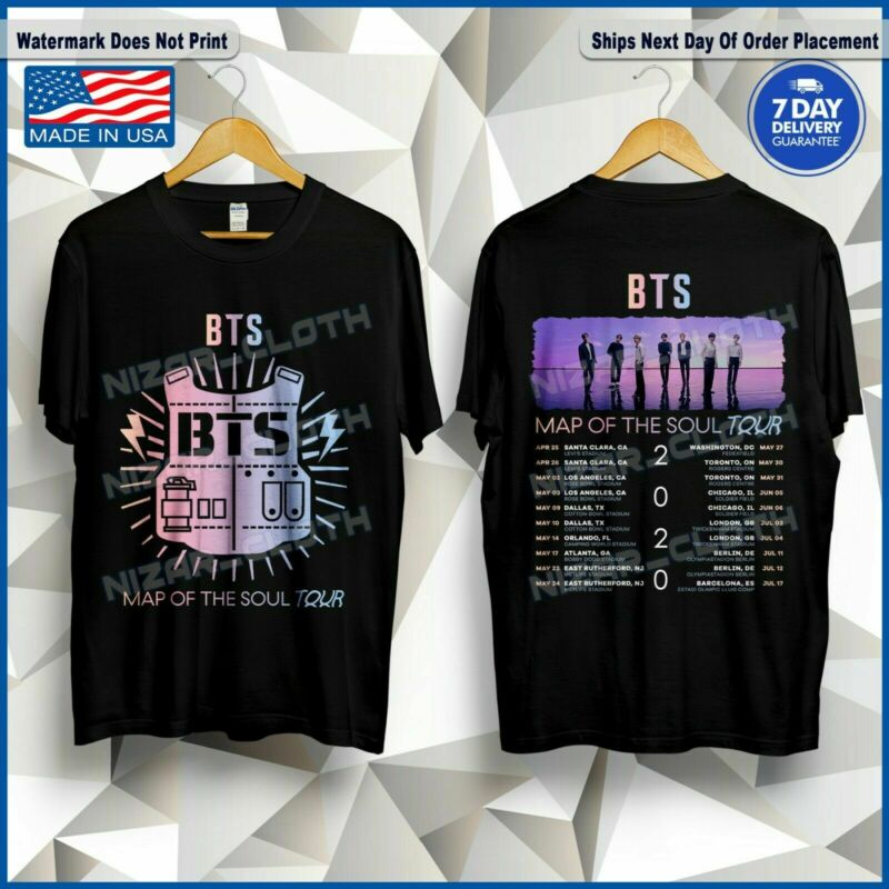 BTS T-Shirt Map Of The Soul Tour 2020 Dates K-Pop Bangtan Boys Shirt ALL SIZE