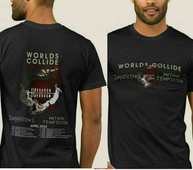 Evanescence 1within Temptation 2020 Worlds Collide Tour T-shirt Shirt Men