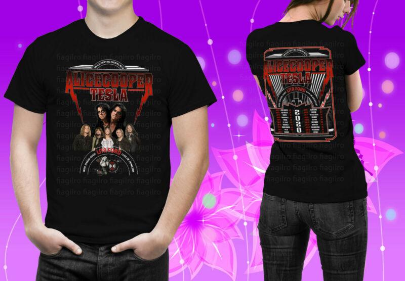 Alice Cooper & Tesla With Lita F0rdd North American Tour 2020 Black Tshirt