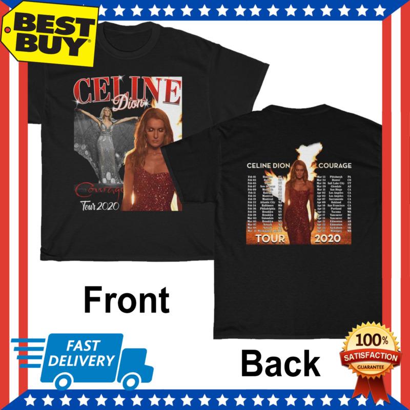 CELINE DION COURAGE TOUR 2020 Concert Tee Diva Homage T-shirt Regular Size M-3XL