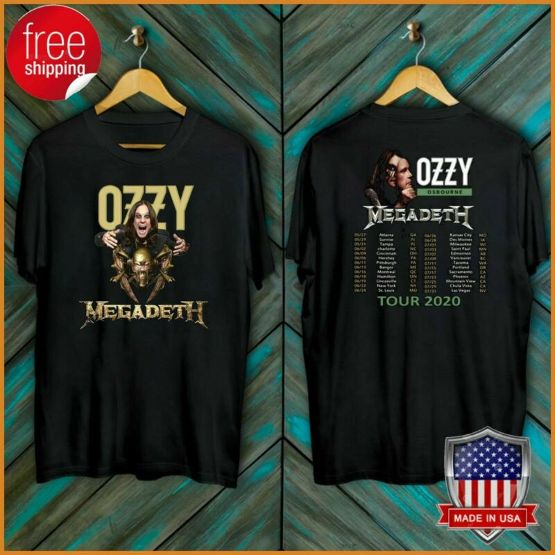 Ozzy Osbourne Tour Date T-Shirt Megadeth 2020 No More Tours Tee S-5XL