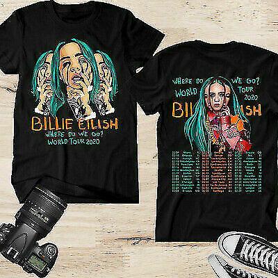 New Billie Eilish Where Do We Go World Tour 2020 T-SHIRT full size Black