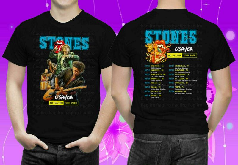 Mens Womens T shirt Rolling Stones USA.CA No Filter Tour 2020 Black