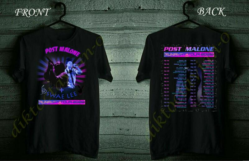Post Malone Runaway Tour Date 2020 Black Shirt Size S-5XL