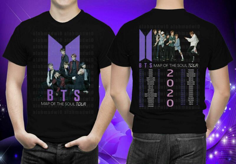 KPOP BTS Map Of The Soul Tour 2020 Black T-Shirt S-5XL