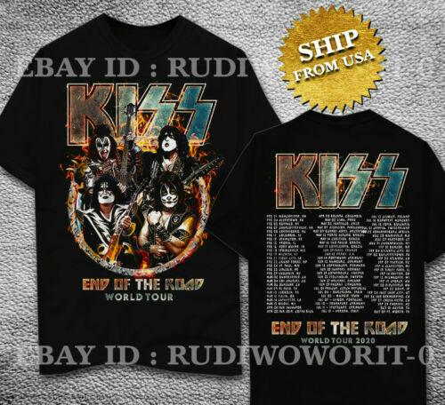 New Kiss End Of The Road World Tour 2020 T-shirt full size black