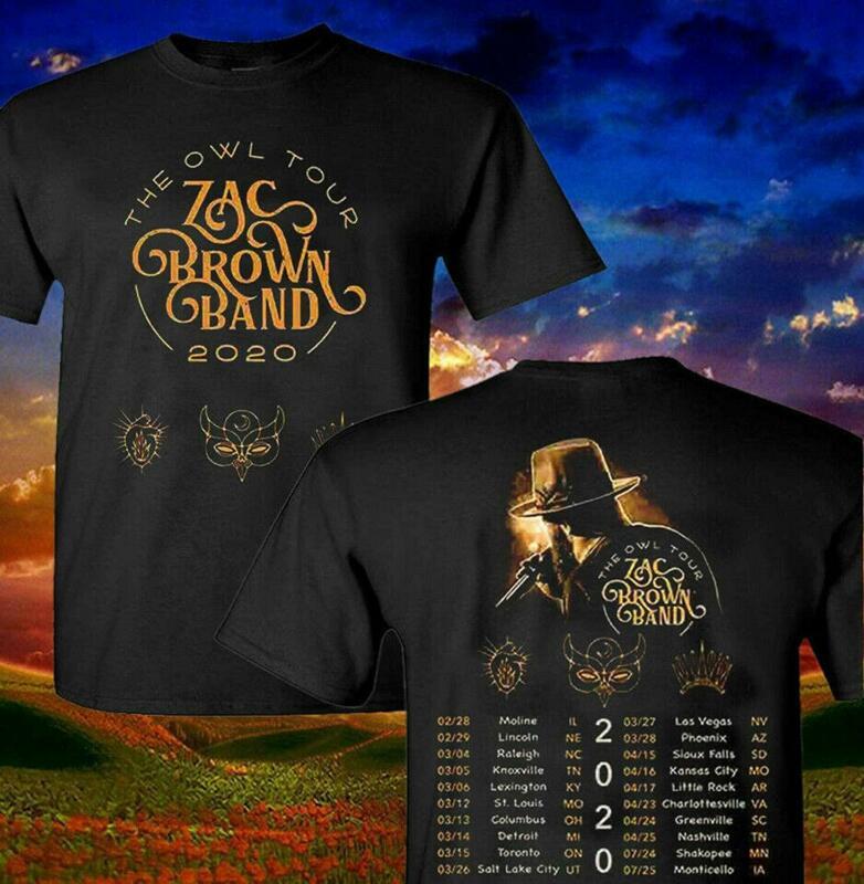 Shirt Zac Brown Band 2020 The Owl Concert Music Tour T Shirt S-5XL
