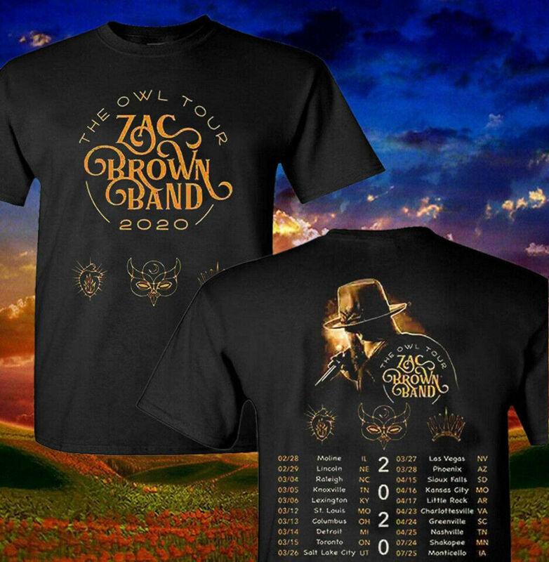 Shirt Zac Brown Band 2020 The Owl Concert Music Tour T Shirt Mens S-3XL