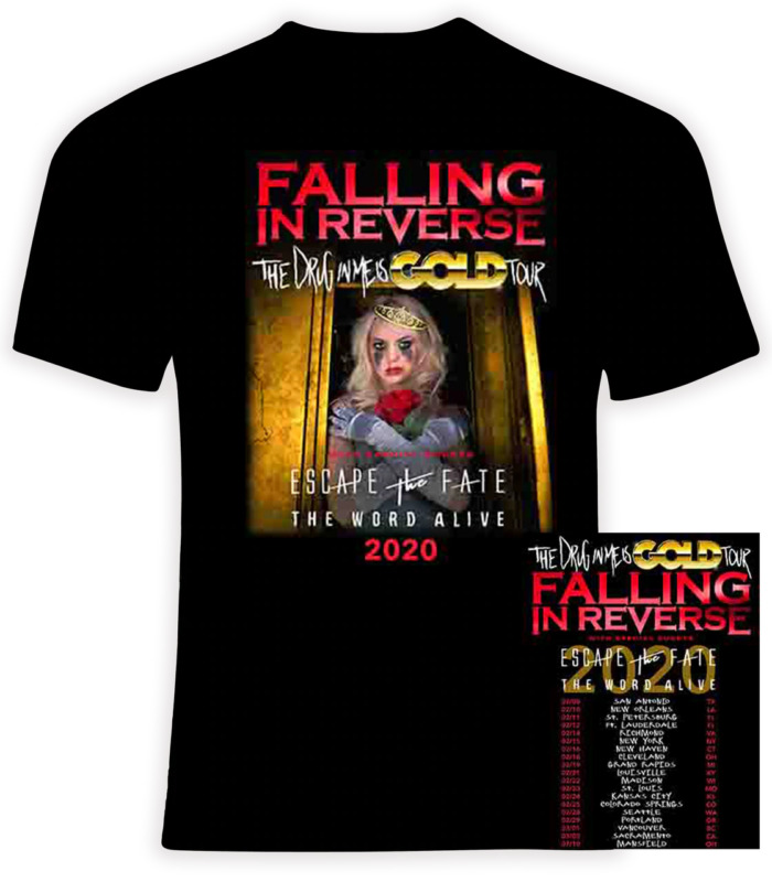 "Falling in Reverse 2020 ""The Drug In Me Is Gold"" Tour Gildan Cotton T-Shirt"