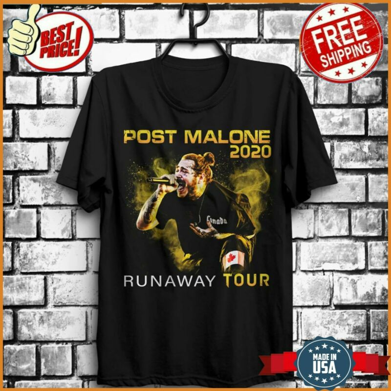 FREESHIP Post Runaway Tour 2020 Malone Hiphop T-Shirt Malone Rapper Black S-6XL