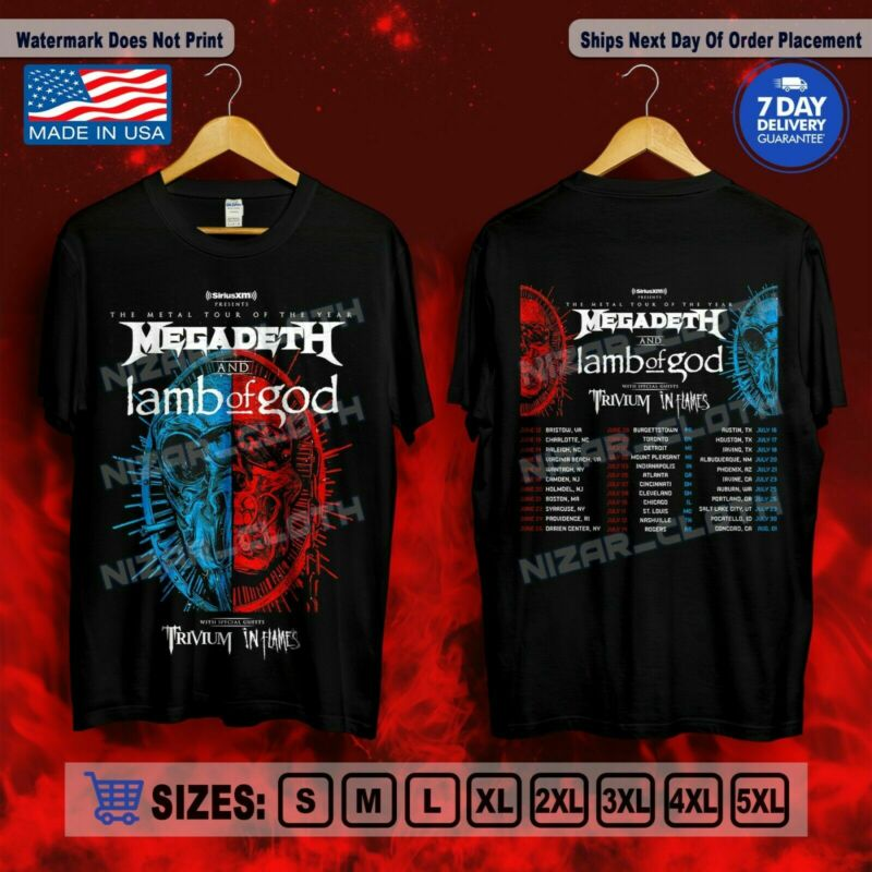 Megadeth & Lamb Of God Metal Tour 2020 with Trivium In Flames SizeS-5XL T-Shirt