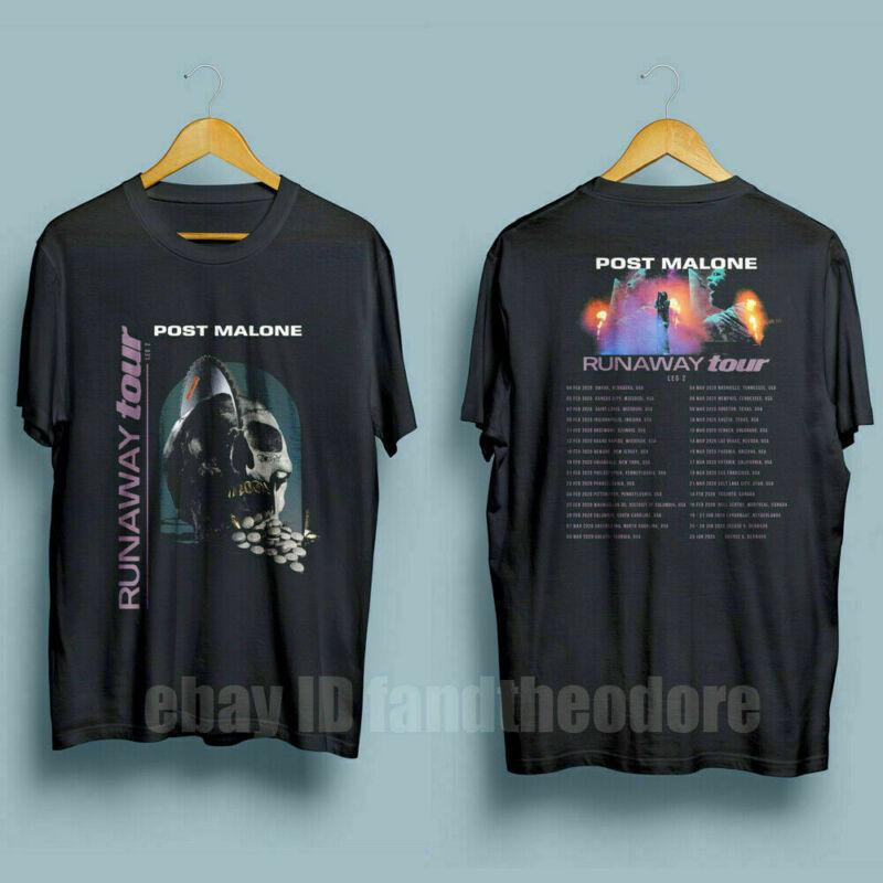 New Post Malone RUNAWAY Tour 2020 Second Leg Mens Black T-Shirt S-5XL