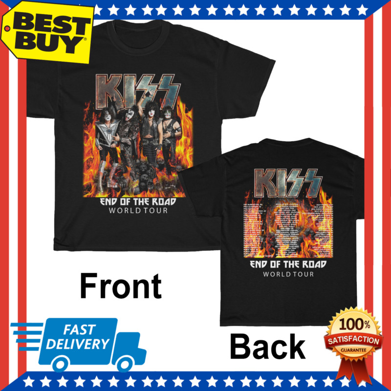 New KISS T-shirt End Of The Road World Tour 2020 T-shirt full size black