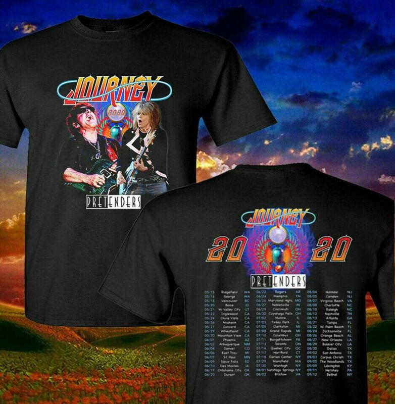 Journey And The Pretenders 2020 Concert Tour T Shirt Unisex Black Shirt S-3Xl