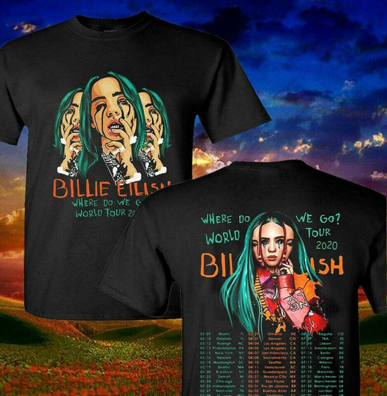 New Billie Eilish T-Shirt Where Do We Go World Tour 2020 Pop Music T-Shirt