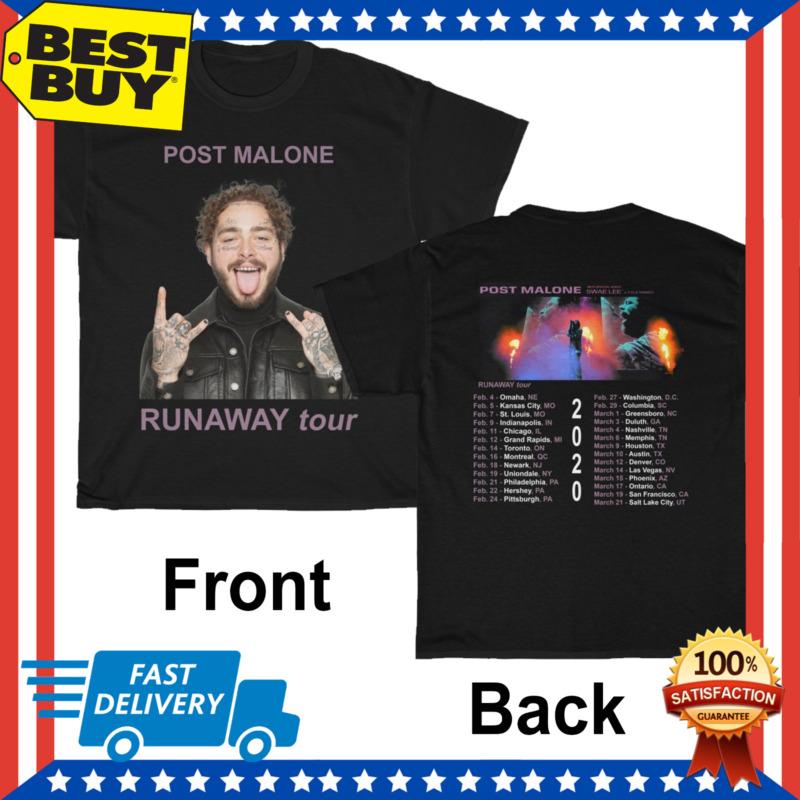 New Post Malone Shirt Runaway Tour 2020 Mens T-Shirt Regular Size M-3XL Black