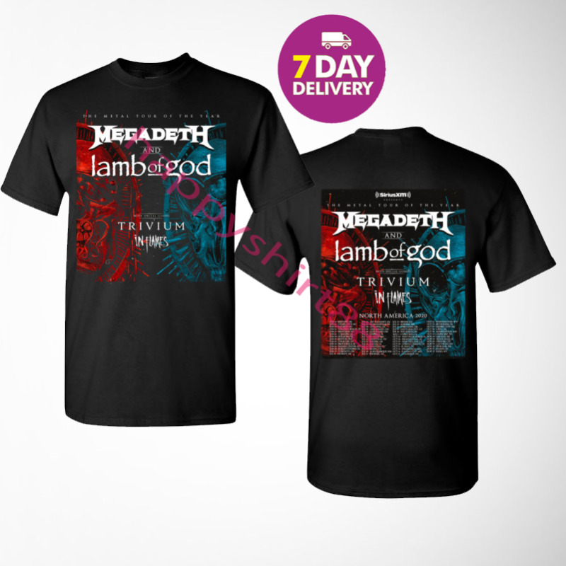 New Megadeth & Lamb Of God Metal Tour 2020 with Trivium In Flames T-Shirt.