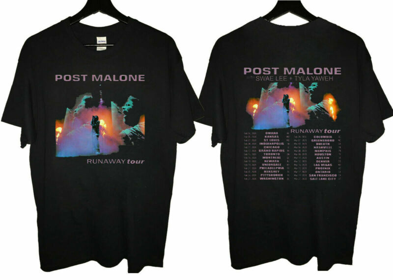 HOT! POST MALONE Runaway Concert Tour Date 2020 Second Leg T-Shirt