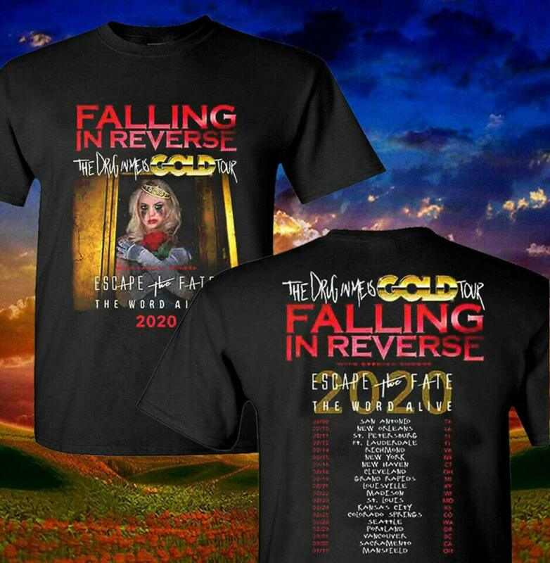 New Falling In Reverse 2020 The Drug In Me Is Gold Tour Music Concert T-Shirt