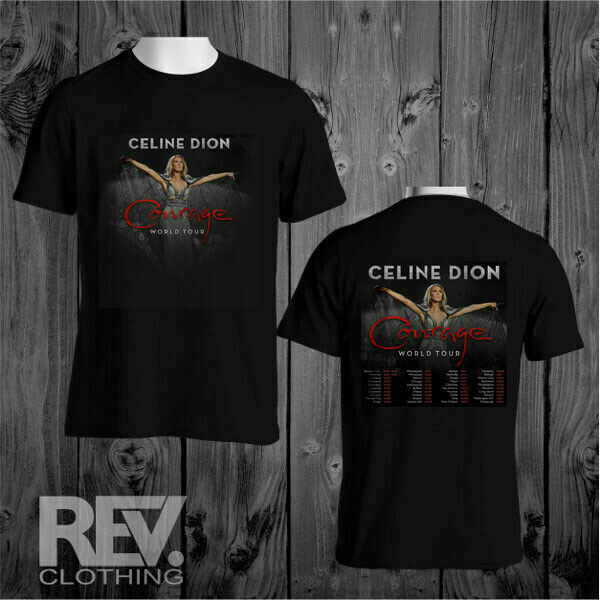 Celine90 Dion Courage 2020 World Tour Black T Shirt